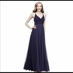 Davids Bridal navy adjustable strap chiffon dress